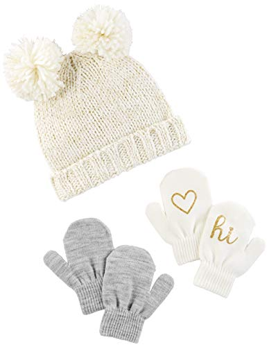 Simple Joys by Carter's Baby Girls' Toddler Hat and Mitten Set, Ivory/Gold, 2T-5T