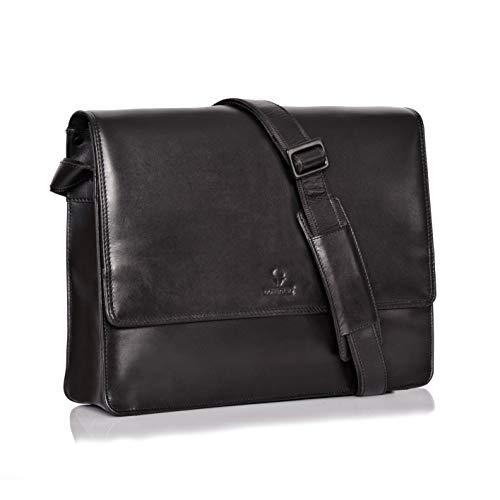 DONBOLSO Barcelona Messenger Bag Leder I Umhängetasche für Laptop I Aktentasche für Notebook I Tasche für Damen und Herren (Schwarz)