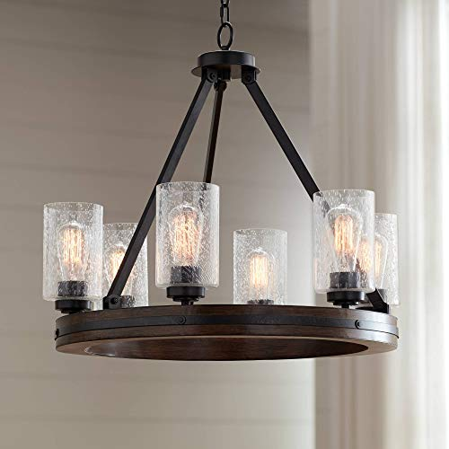 """Gorham Iron Gray Wagon Wheel Chandelier 25"""" Wide Rustic Farmhouse Faux Wood Clear Seeded Glass 6-Light Fixture for Dining Room House Foyer Kitchen Entryway Bedroom Living Room - Franklin Iron Works -  Lamps Plus, 7926-CH-6"""