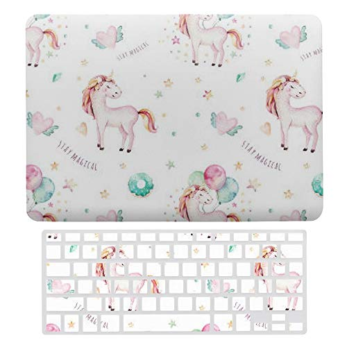 Macbook Air 13 Inch Case(A1369 & A1466, Older Version 2010 2017 Release), Plastic Hard Protective Laptop Case Shell With Keyboard Cover, Cute Girls Unicorn Balloons