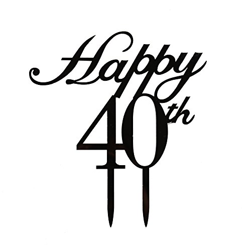 Happy 40th Cake Topper,40th Birthday/ Wedding Anniversary Party Decorations-Black Color
