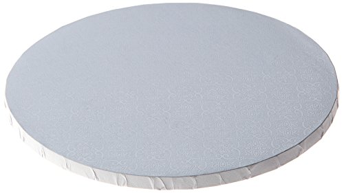 """W PACKAGING WPDRM14W  14"""" (14x14x0.31) White Round Cake Drum, 1/2"""" Thick, B/C-Flute, Corrugated with Coated Embossed Foil Paper, Covers Top and Sides (Pack of 12)"""