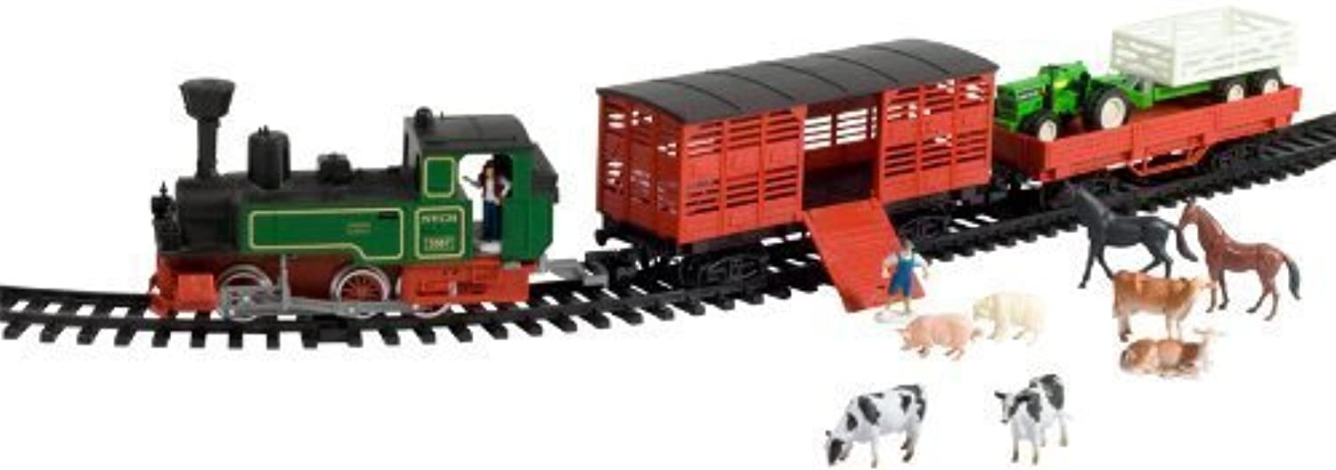 Deluxe Steam Train with Livestock Cars and Vehicles by WowToyz