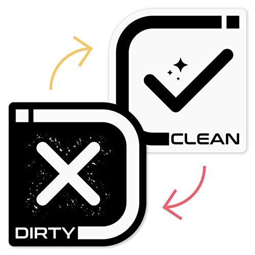 Dishwasher Clean Dirty Magnet Sign - Dishwasher Signs Clean/Not Clean - Universal Double Sided Kitchen Magnet Indicator For Dishwashers - Accessory For Apartment Necessities - C/D - White Black