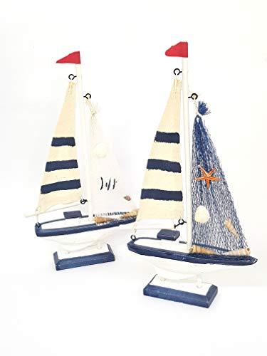 Takestop houten boot schelpen touw 14x11 cm wit en blauw maritiem decoratief design plaatsmarkering gastgeschenk