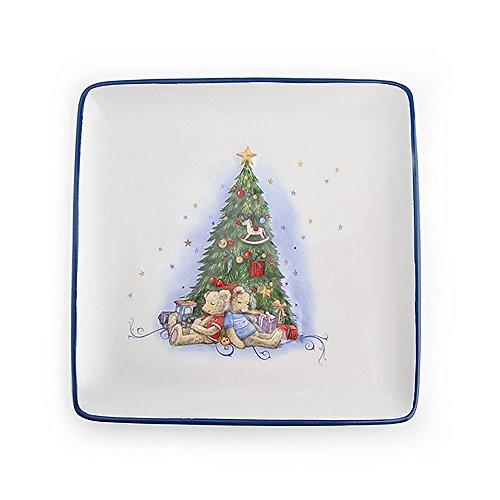 Hervit Natale Art.26752 Piatto in Porcellana 20X20CM Abete