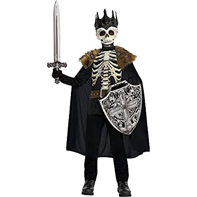 Party City Dark King Halloween Costume for Boys, Large (12-14), Includes Printed Shirt, Mask with Crown and Cape