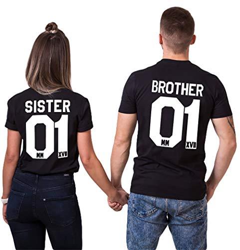 Pareja Camisetas Brother Sister T-Shirt Casual Fashion Tops Tees 01 Impresión Hombres y Mujer Partnerlook Couple Shirt Regalo del Día de San Jorge 100% Algodón Negro Blanco 2 Piezas