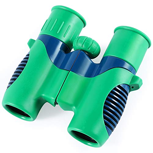 JOLLY CHEF Binoculars for Kids, High Resolution 8x12 Compact Toy Binocular for Toddler, Shockproof Small Kids Binocular for Bird Watching, Hunting,Boating, Outdoor for Boys and Girls,Green