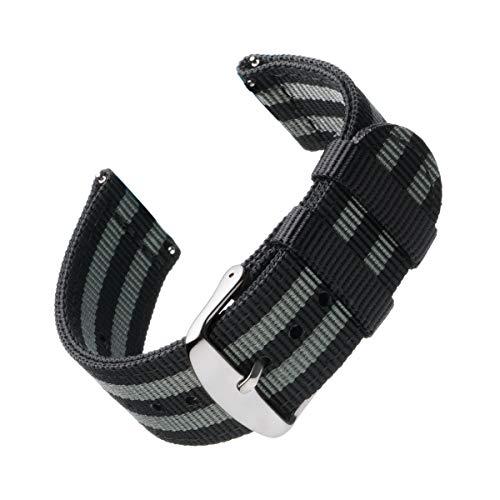 Archer Watch Straps | Premium Cinturino di Nylon Ricambio Sgancio Rapido Cinghia Orologio per Donne e Uomini, Orologi e Smartwatch | Nero e Grigio (James Bond), 22mm
