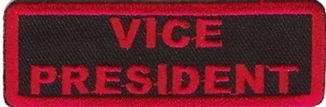 VICE PRESIDENT RED Club Embroidered MC Officer Outlaw Biker Vest Patch PAT-1946