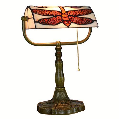 Tiffany rouge dargonfly Interrupteur étude Table bureau Base en Métal Bronze Clair Chambre lampe d'éclairage Table Banque American Country style rustique européenne Fixations