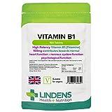 Lindens Vitamina B1 tiamina 100 mg en comprimidos | 100 Paquete | Comprimidos superfuertes con un 7000 % de VRN que contribuyen a un metabolismo y un corazón sanos
