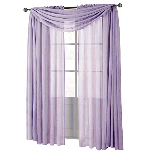 Solid Abri Rod Pocket, 50-Inch Wide x 96-Inch Long Crushed Sheer Curtain Panel, Lavender