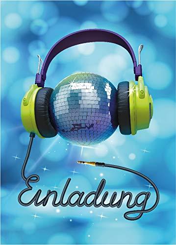 JuNa-Experten 12 Einladungskarten Geburtstag Kinder Erwachsene Mädchen Jungen Jungs Disco-Party / Einladung Kindergeburtstag / Geburtstagseinladung