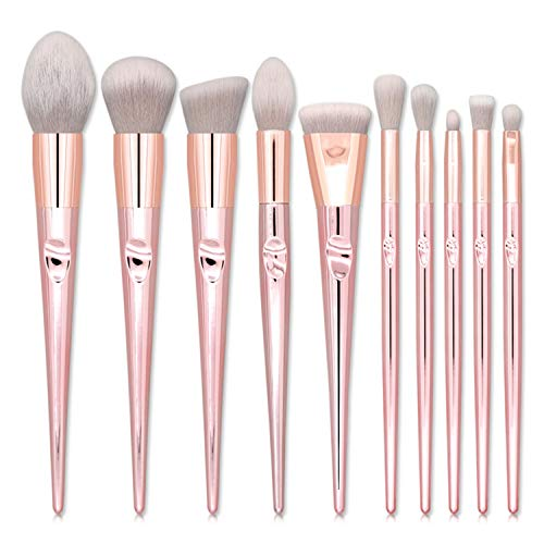Outil de Maquillage de beauté 10pcs pinceaux de Maquillage Set Cheveux Gris Golden Handle Grey & Golden