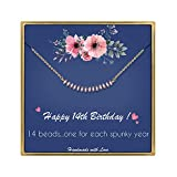 IEFLIFE 14th Birthday Gifts for Girls - Crystal Beads Necklace Gifts for 14 Year Old Girl Beaded Bar Necklace Girl Birthday Gifts 14 Year Old Girl Gifts Birthday Gifts for Sister, Best Friends