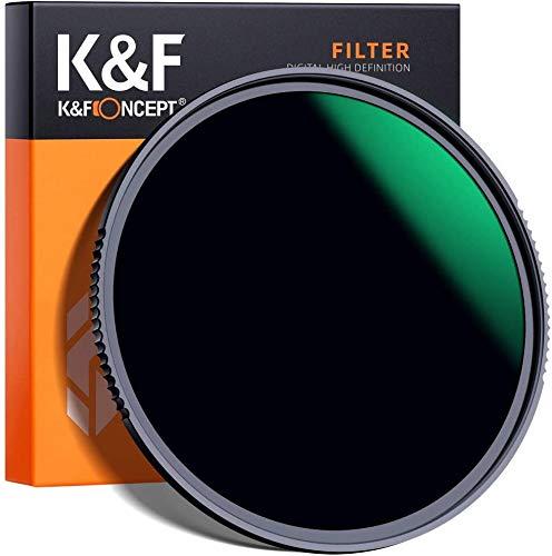 K&F Concept 55mm Filtro ND1000 10 Pasos, Filtro de Lente Densidad Neutra Gris ND de Vidrio Óptico HD con Multicapa Nano-Revestimiento para Cámara Lente