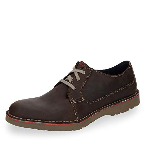 Clarks Vargo Plain, Zapatos de Cordones Derby, Marrón (Dark Brown Leather), 45 EU