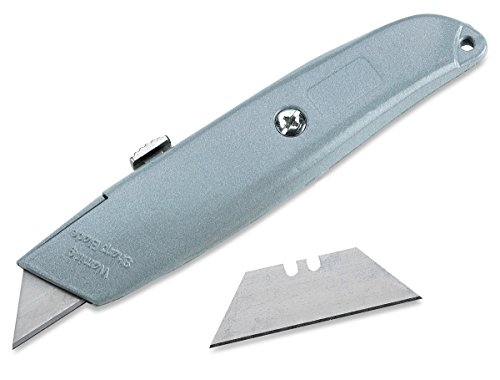 Katzco Retractable Utility Knife - Box Cutter – 2 Notch Replacement Utility Blades - 3 Position Retractable Blade Knife – Ideal for Cutting Cardboard, Plastic, Leather, Carpet, Rope
