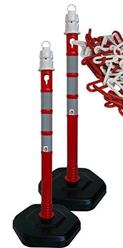 UvV® Duo 2 x Kettenpfosten Kettenständer inkl. 5 Meter Kette - Absperrpfosten, Ø63 x 1000mm, Fußplatte zum Einrasten in schwarz mit Gewichtsverstärkung und 3 reflektierenden Folienstreifen