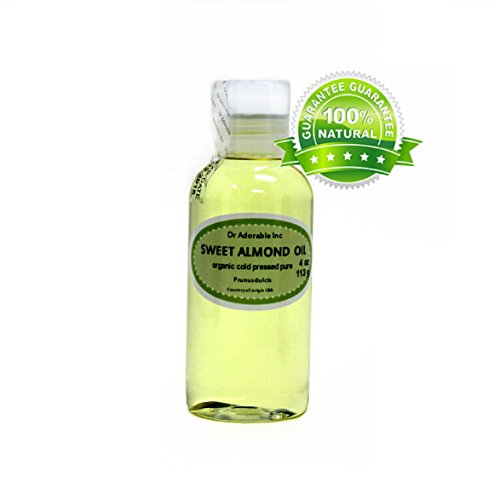 Sweet Almond Oil Organic Pure Cold Pressed by Dr.Adorable 4 Oz