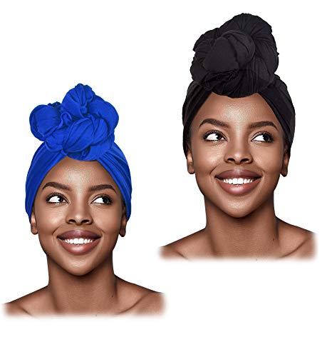 L'VOW 2 Pieces Stretch Turban Headband Long Hair Scarf Wrap Hijab Tie Head Wraps Scarves for Women(Royal Blue)