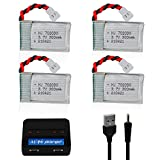 Sirecal 4PCS 3.7v 300mAh 25C RC Drone Lipo Battery XH2.54 Connector with Charger for Mini Quadcopter RC FPV Drone