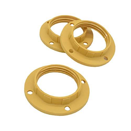 3 Stück Schraubring E14 Kunststoff Sandfarben/Mokka/Gold für Lampen-Fassung Gewinde-Ring für Lampen-Schirm oder Glas-Elemente