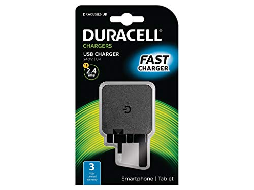 Duracell DRACUSB2-UK - SINGLE USB 2.4A CHARGER UK - .