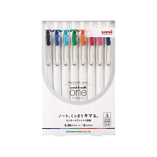三菱鉛筆 ゲルボールペン ユニボールワン 0.38 8色セット UMNS388C