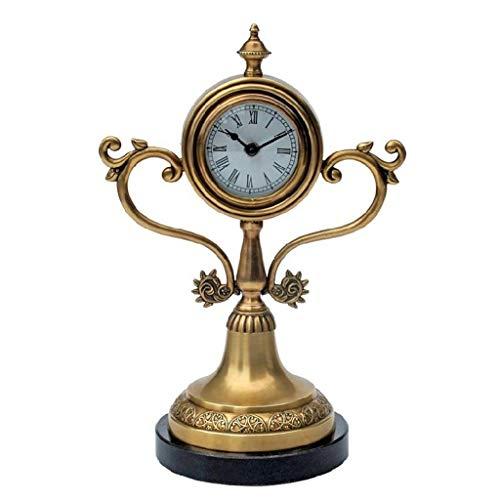 Hong Yi Fei-Shop Elegante Reloj de Mesa Reloj de Mesa 12.9 Pulgadas Alto silencioso y sin Escala Art Table Reloj Reloj Sala de Estar Oficina de Dormitorio (Cobre Puro) Reloj de Escritorio