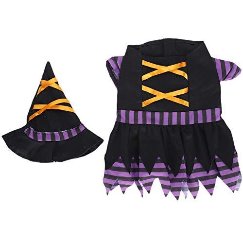 【ó 】 Disfraces de Halloween para Cachorros de Perro púrpura, Cintas de...