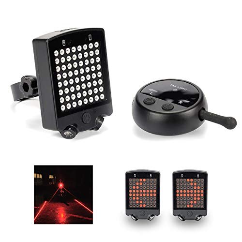 J & X - Luz trasera LED para bicicleta con mando a distancia inalámbrico, luz trasera para bicicleta con marcado láser de carrera, accesorio para bicicleta, luz trasera recargable