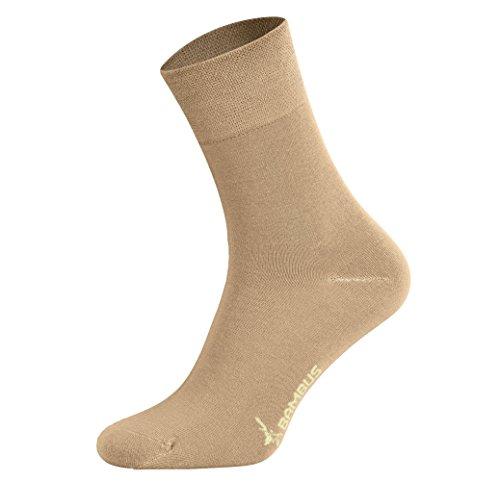 Tobeni 6 Pares Mujer Hombre Calcetines Negocio de Bambú sin Goma Unisexo Color Beige Tamano 35-38