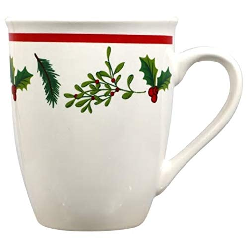 Coffee Mugs White. Set of 2 12 oz Durable Stoneware Retains Heat. Fall, Christmas & Holidays Season Inspired, Adorned with Festive Holly Leaves & Berries Great for Coffee, Tea, Juice, Water, Milk (2)