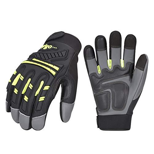 Vgo 3 Paare hohe Mechnische Arbeitshandschuhe, Ziegenlederpalmen, für große Belastungsarbeit, Vibration-Schutz-Handschuhe, Heavy Duty (9/L, Grün, GA8954)