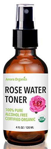 Rose Water Toner Facial Spray - USDA Certified Organic - 100% Pure & Alcohol Free - 4 Oz