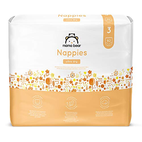 Marque Amazon- Mama Bear Couches ultra absorbantes Taille 3 (4-9 kg) - avec canaux d'air- 184 couches (2 packs x 92 couches)