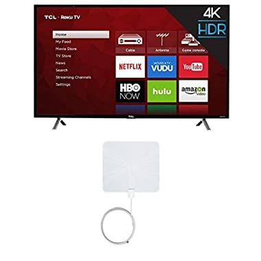 TCL 49S405 49-Inch 4K Ultra HD Roku Smart LED TV (2017 Model) with Winegard FlatWave FL-5000 Digital Indoor HDTV Antenna