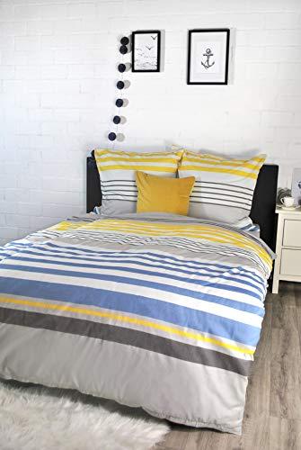 jilda-tex Bettwäsche 100% Baumwolle Design 135x200 cm + 80x80 cm mit Reißverschluss Bettbezug Bettgarnitur Verschiedene Designs (Oslo)