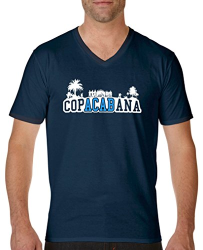 Comedy Shirts - Copacabana Palmen - Herren V-Neck T-Shirt - Navy/Weiss-Blau Gr. XL