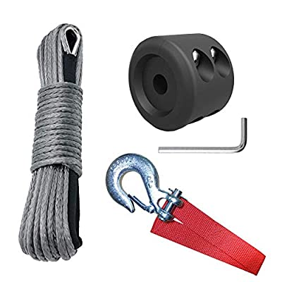 "HOTSYSTEM 1/4"" x 50' 7700LBs Synthetic Towing Winch Line Cable Rope with Sheath + 1/4"" Towing Winch Hook + Winch Cable Hook Stopper for ATV UTV SUV Jeep Winches"