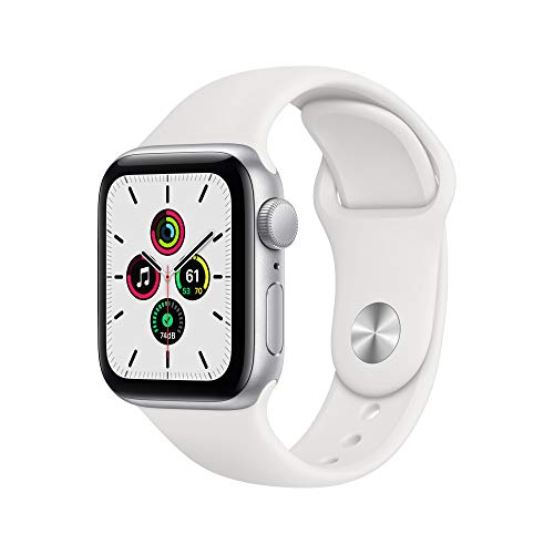 New Apple Watch SE (GPS, 40mm) Silver Aluminum Case - White Sport Band