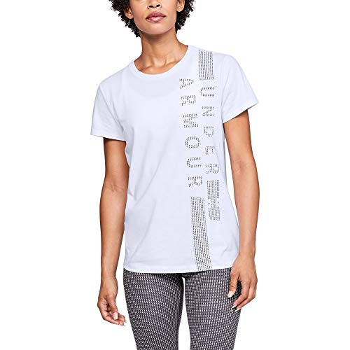 Under Armour Graphic Classic Crew Vertical T-Shirt Femme, Blanc, FR (Taille Fabricant : MD)