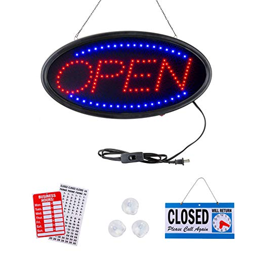 Neon Open Sign by Smart Solutions Northwest. Open Sign for Business. 19x10 inch LED Open Sign. Electric Display Sign. Flashing and Static Light. for Any Business, Shop, bar, or Hotel Window.