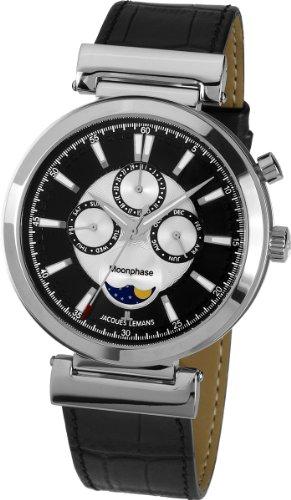 Jacques Lemans 1-1698A - Reloj analógico de Cuarzo para Hombre con Correa de Piel, Color Negro