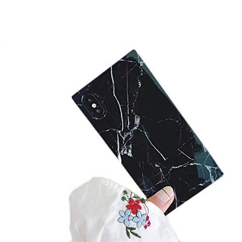 Cocomii Square Marble Marmo iPhone 8 Plus/7 Plus Custodia, Sottile Lucido Morbido TPU Silicone Bordi Quadrati del Baule Case Bumper Cover Paraurti Compatible with Apple iPhone 8 Plus/7 Plus (Black)