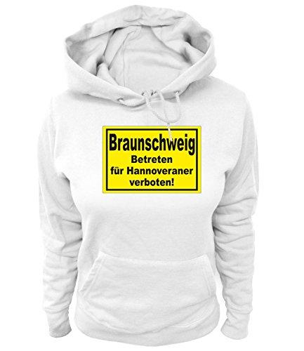 Artdiktat Damen Hoodie Braunschweig - Betreten für Hannoveraner verboten! Größe XL, weiß