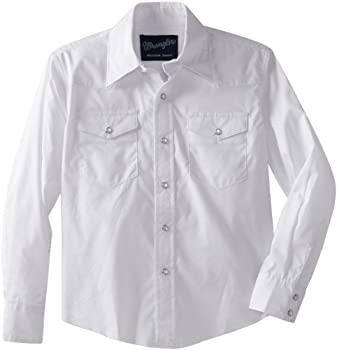 Wrangler Boys  Long Sleeve Dress Western Solid Snap Shirt - X-Small - White